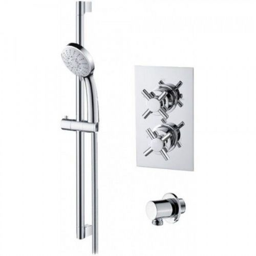 Abacus Emotion Thermostatic Cross Head Concealed Shower Mixer With Shower Raiser Rail Kit - Chrome